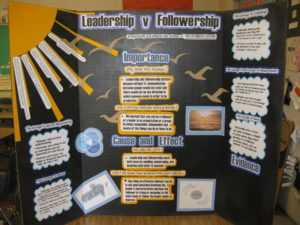 Visual display of courageous follower principles on poster board